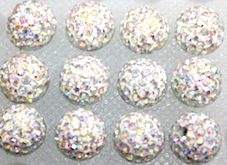 12mm Clear AB 130 Stone  Pave Crystal Beads- 2 Hole PCB12-130-001