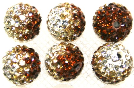 12mm Coffee- Gold- Clear Pave Crystal Beads 2 Hole PCB12-130-038