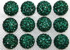 12mm Dark Green 130 Stone Pave Crystal Beads- 2 Hole PCB12-130-028