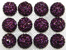 12mm Deep Purple 130 Stone  Pave Crystal Beads- 2 Hole PCB12-130-030