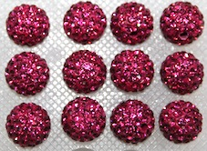 12mm Fuchsia Pink 130 Stone  Pave Crystal Beads- 2 Hole PCB12-130-024