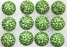 12mm Grass Green 130 Stone  Pave Crystal Beads- 2 Hole PCB12-130-013