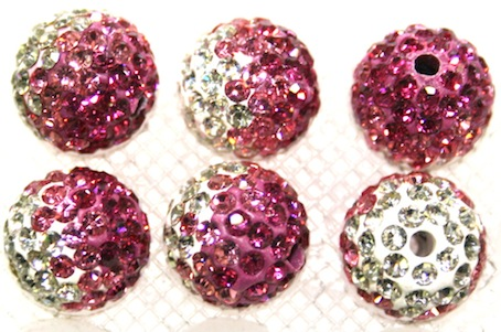 12mm Hot Pink- Pink- Clear Pave Crystal Beads 2 Hole PCB12-130-032