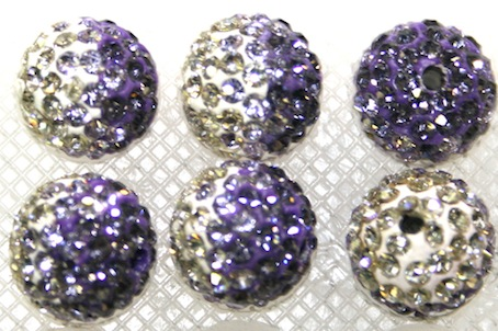 12mm Light Purple- Lilac- Clear Pave Crystal Beads2 Hole PCB12-130-036