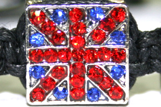 12mm Metal Union Jack  Square Bead