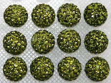 12mm Olive Green 130 Stone  Pave Crystal Beads- 2 Hole PCB12-130-019