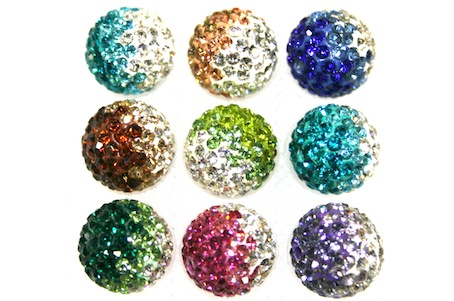 12mm Pave Crystal Beads- 2 Hole- 130 Stones- Mixed Colours