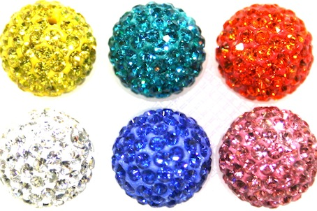 12mm Pave Crystal Beads-  2 Holes- 130 Stones