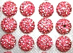 12mm Pink 130 Stone  Pave Crystal Beads- 2 Hole PCB12-130-006