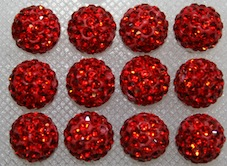 12mm Red 130 Stone  Pave Crystal Beads- 2 Hole PCB12-130-009