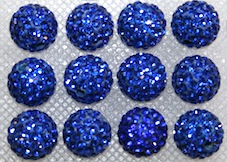 12mm Sapphire Blue 130 Stone Pave Crystal Beads- 2 Hole PCB12-130-010
