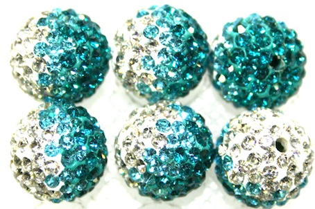12mm Teal- Turquoise- Clear Pave Crystal Beads 2 Hole PCB12-130-034