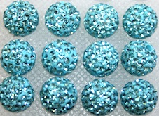 12mm Turquoise 130 Stone  Pave Crystal Beads- 2 Hole PCB12-130-007