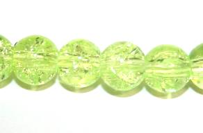 142pcs x 6mm Bright yellow glass crackled beads -- 3005061