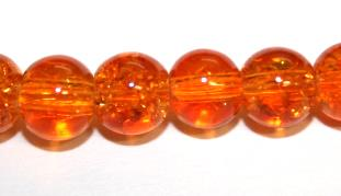 142pcs x 6mm Safety orange glass crackled beads -- 3005071