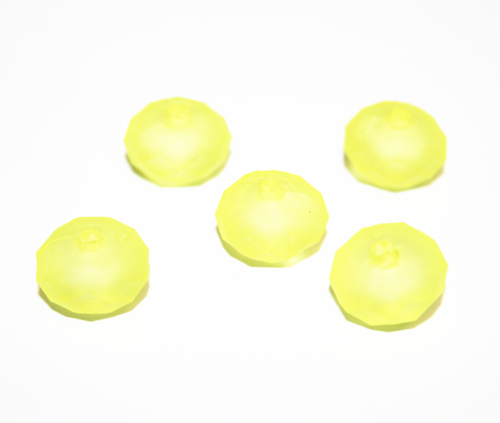 148pcs x Rubber coated acrylic rondelle beads 10*8mm - bright yellow