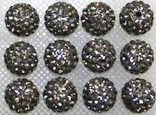 14mm Grey Pave Crystal Bead-  PCB14-130-004