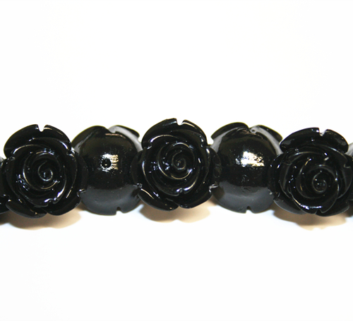 16pcs x 15mm Acrylic flower - rose bead - black