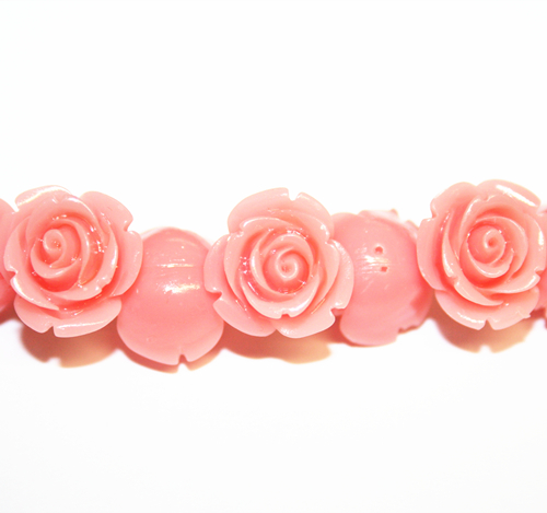 16pcs x 15mm Acrylic flower - rose bead - coral