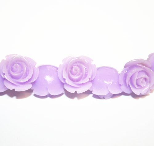 16pcs x 15mm Acrylic flower - rose bead - lilac