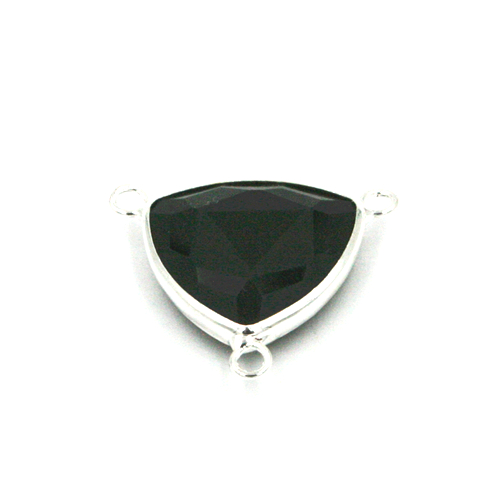 19.5*19.5mm Black colour triangle crystal connector - with 3 rings