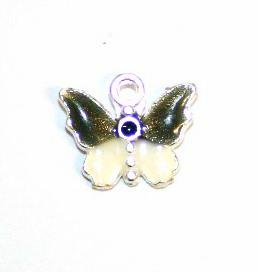 1pce x 14mm*12mm Black enameled alloy baby butterfly charms / pendants