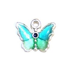 1pce x 14mm*12mm Blue enameled alloy baby butterfly charms / pendants