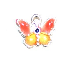 1pce x 14mm*12mm Orange enameled alloy baby butterfly charms / pendants