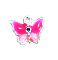 1pce x 14mm*12mm Pink enameled alloy baby butterfly charms / pendants