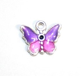 1pce x 14mm*12mm Purple enameled alloy baby butterfly charms / pendants
