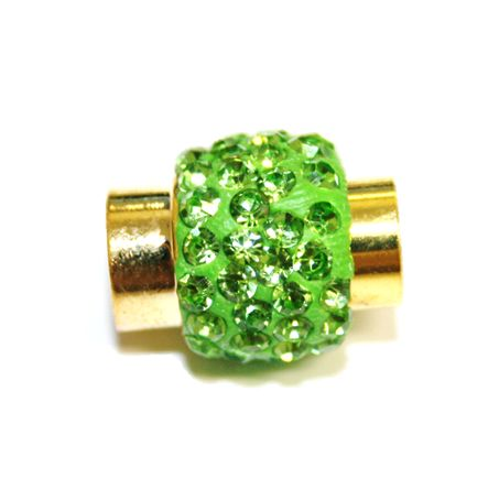 1pce x 17mm*14mm green stone Pave Crystal magnetic clasps -- gold - C4002155-7mm-13