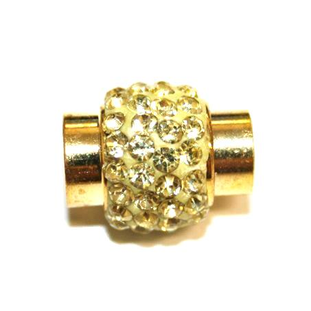 1pce x 17mm*14mm lemon colour stone Pave Crystal magnetic clasps -- gold - C4002154-7mm-22