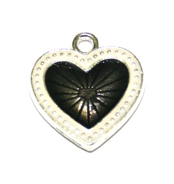 1pce x 22mm*20mm Black enameled alloy star burst heart charms / pendants