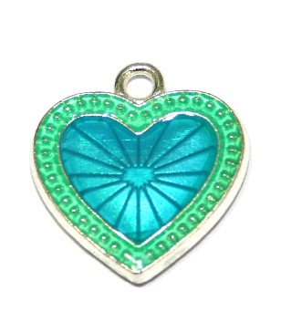 1pce x 22mm*20mm Blue enameled alloy star burst heart charms / pendants