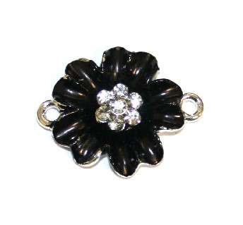 1pce x 24mm*19mm Black double five petal flower connector - enameled alloy charm with rhinestones