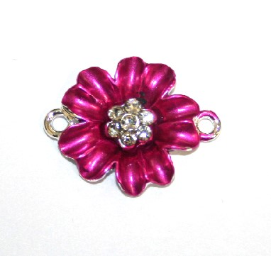 1pce x 24mm*19mm Pink double five petal flower connector - enameled alloy charm with rhinestones