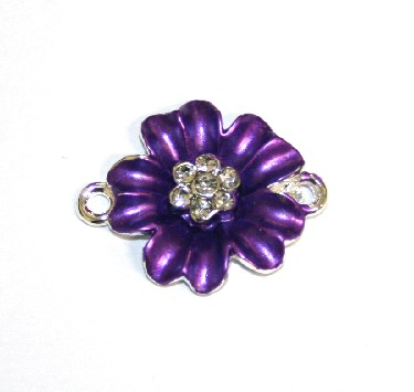 1pce x 24mm*19mm Purple double five petal flower connector - enameled alloy charm with rhinestones