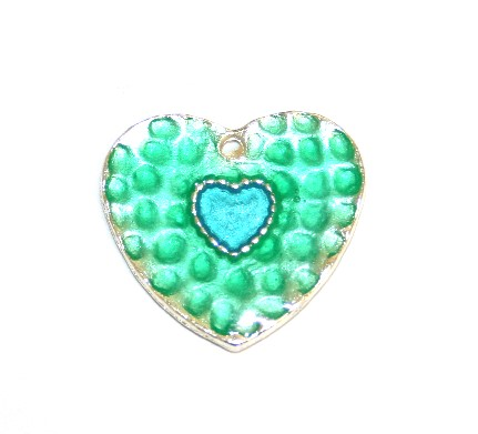 1pce x 25mm*24mm Green enameled alloy double heart charms / pendants