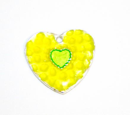1pce x 25mm*24mm Lime green enameled alloy double heart charms / pendants