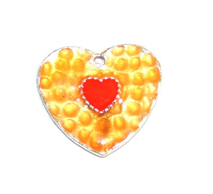 1pce x 25mm*24mm Orange enameled alloy double heart charms / pendants