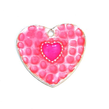 1pce x 25mm*24mm Pink enameled alloy double heart charms / pendants