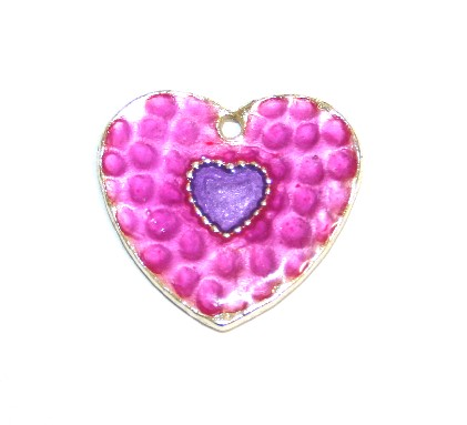 1pce x 25mm*24mm Purple enameled alloy double heart charms / pendants