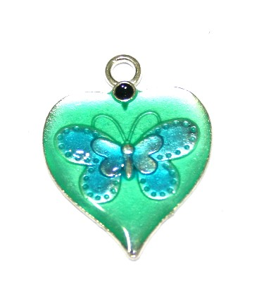 1pce x 26mm*19mm Green enameled alloy heart charms / pendants with butterfly design