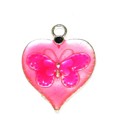 1pce x 26mm*19mm Pink enameled alloy heart charms / pendants with butterfly design