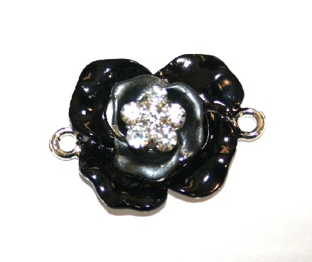 1pce x 29mm*21mm Black double layer flower connector - enameled alloy charm with rhinestones