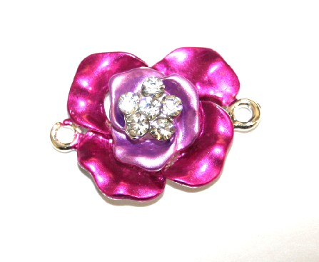1pce x 29mm*21mm Pink double layer flower connector - enameled alloy charm with rhinestones