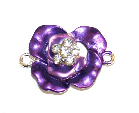 1pce x 29mm*21mm Purple double layer flower connector - enameled alloy charm with rhinestones