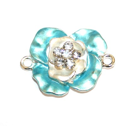 1pce x 29mm*21mm Turquoise double layer flower connector - enameled alloy charm with rhinestones