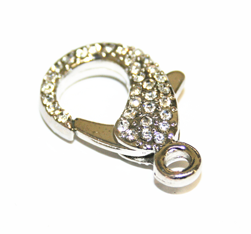 1pce x 30mm Rhodium plated Lobster Clasps with Rhinestone – WC242