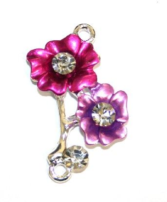 1pce x 31mm*22mm Double two-tone (pink / lilac) flower with leaves connector - enameled alloy charm with rhinestones